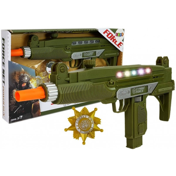 Zestaw Wojskowy Pistolet  Dźwięk Światła Odznaka 37 cm