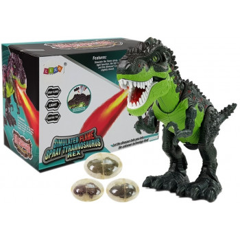 Dinozaur Na Baterie Składa Jaja Zieje Ogniem Para Wodna Zielony