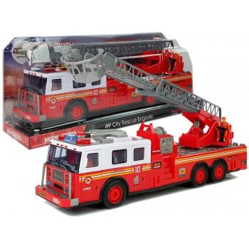 Straż Pożarna z Napędem Frykcyjnym Efekty Świetlne Dźwiękowej Otwierane Drzwi Szyby Rozsuwana Drabina 38cm