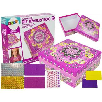 Pudełko Szkatułka na biżuterie do zdobienia DIY Kryształki Naklejki Ozdoby 13x13 cm