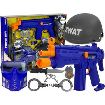 Zestaw Policyjny SWAT Maska Hełm Odznaka Pistolet 36 cm