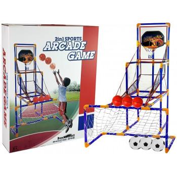 Zestaw Gier Sportowych 2 w1 Koszykówka Piłka Nożna Trzy Piłki Celność