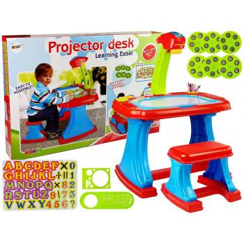 Stolik Edukacyjny z Projektorem Krzesełko Kredki Magnesy Literki i Cyfry