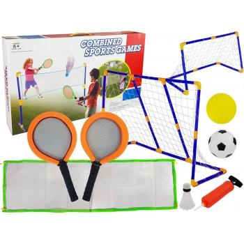 Zestaw Do Piłki Nożnej Badmintona Siatkówki 3 w 1 Dwie Wersje Bramki