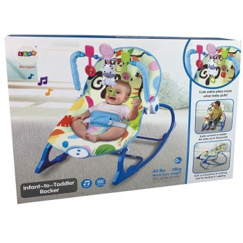 Kołyska Bujaczek Fotelik Krzesełko 2w1 Niebieski Zebra Dźwięki Wibracja