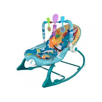 Kołyska Bujaczek Fotelik Krzesełko 2w1 Miętowy Hipopotam Dźwięki Wibracja