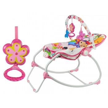 Kołyska Bujaczek Fotelik Krzesełko 2w1 Różowy Kwiatuszek Dźwięki Wibracja