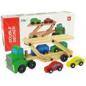 Drewniana Zielona Laweta Ciężarówka z Samochodzikami Klocki