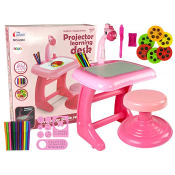 Stolik Tablica Do Rysowania Krzesełko Projektor Różowy Pisaki Obrazki