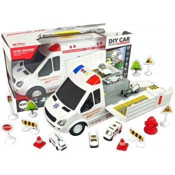 Ambulans Transportowy Parking Dźwięki Światła Napęd Frykcyjny Autka Akcesoria