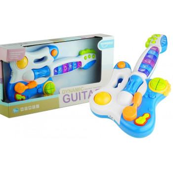 Interaktywna Gitara Pianinko Gra Świeci Niebieska