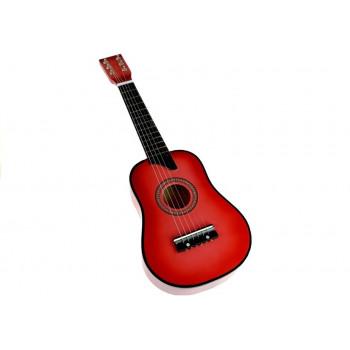 Gitara Drewniana Klasyczna z Kostką Różowa 60 cm