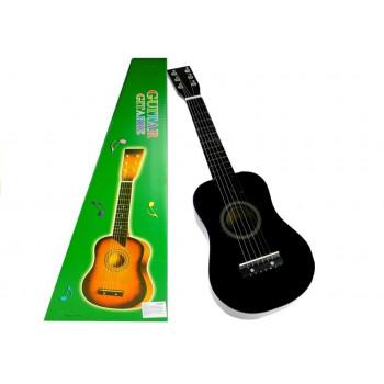 Gitara Drewniana Klasyczna z Kostką Czarna 60 cm