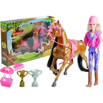 Zestaw Lalka i Koń w Stajni + Akcesoria Brązowy