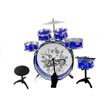 Duża Perkusja 6 Bębnów + Talerz + Pedał Niebieska